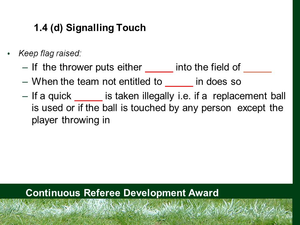 Continuous Referee Development Award 1.4 (d) Signalling Touch Keep flag raised: –If the thrower puts either _____ into the field of _____ –When the team not entitled to _____ in does so –If a quick _____ is taken illegally i.e.
