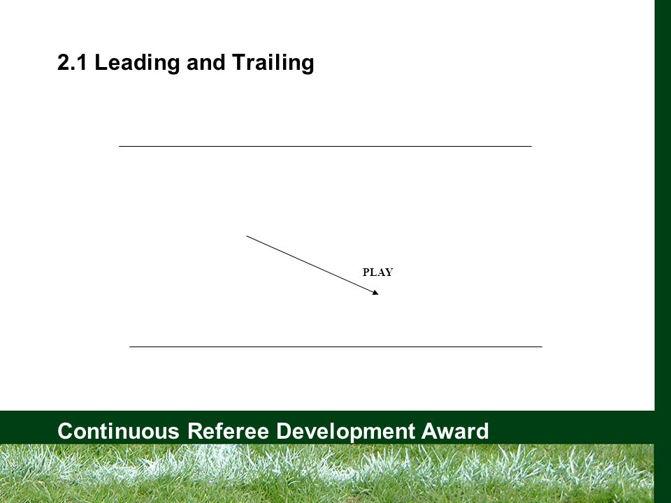 Continuous Referee Development Award 2.1 Leading and Trailing PLAY