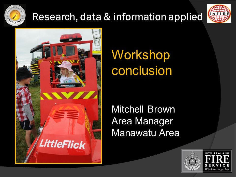 Research, data & information applied Workshop conclusion Mitchell Brown Area Manager Manawatu Area