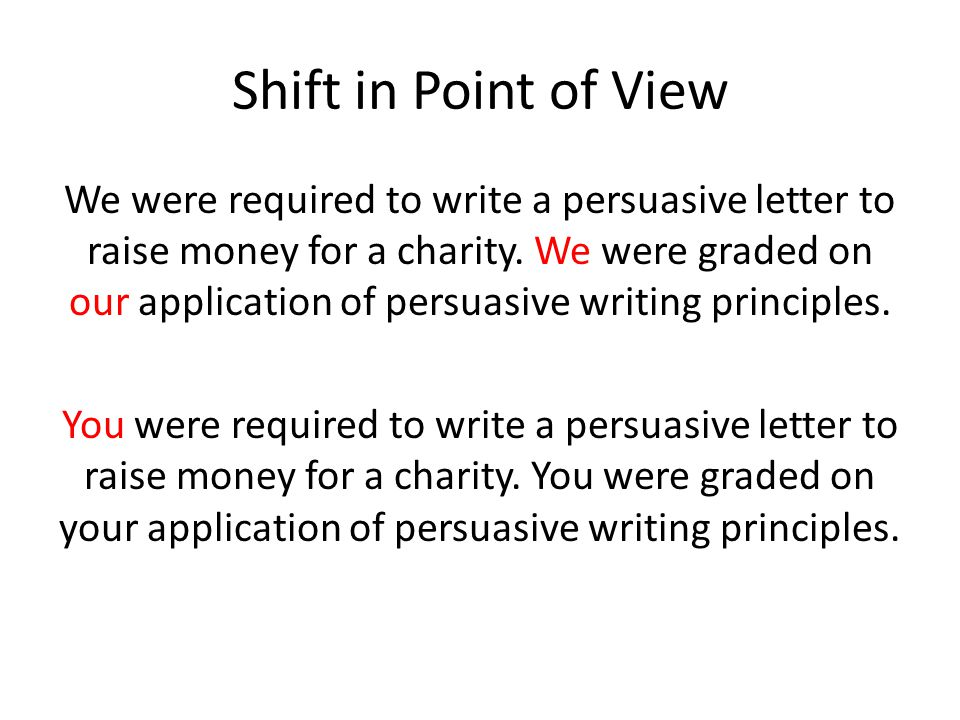 Shift in Point of View We were required to write a persuasive letter to raise money for a charity.