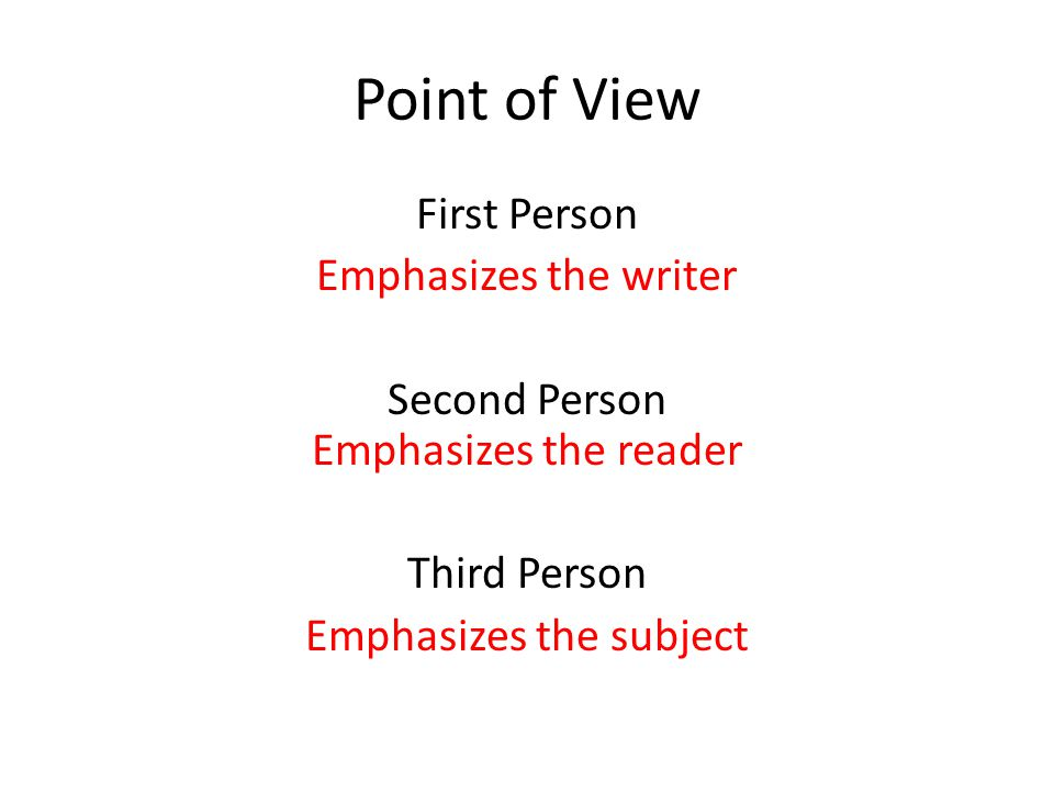 Point of View First Person Emphasizes the writer Second Person Emphasizes the reader Third Person Emphasizes the subject