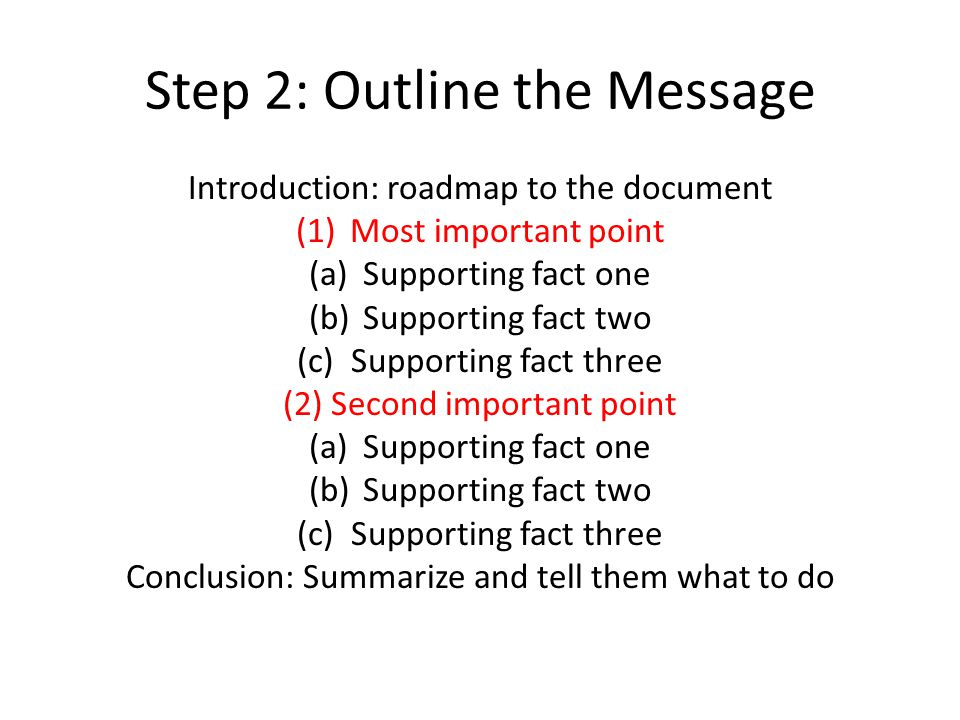 Step 2: Outline the Message Introduction: roadmap to the document (1)Most important point (a)Supporting fact one (b)Supporting fact two (c)Supporting fact three (2) Second important point (a)Supporting fact one (b)Supporting fact two (c)Supporting fact three Conclusion: Summarize and tell them what to do