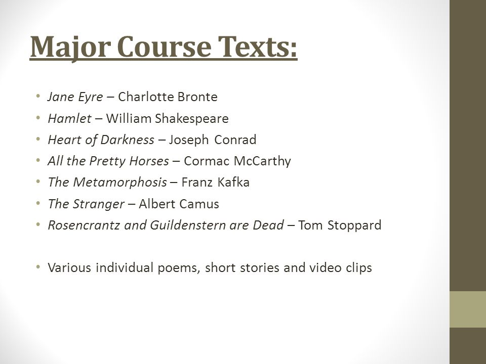Major Course Texts: Jane Eyre – Charlotte Bronte Hamlet – William Shakespeare Heart of Darkness – Joseph Conrad All the Pretty Horses – Cormac McCarthy The Metamorphosis – Franz Kafka The Stranger – Albert Camus Rosencrantz and Guildenstern are Dead – Tom Stoppard Various individual poems, short stories and video clips