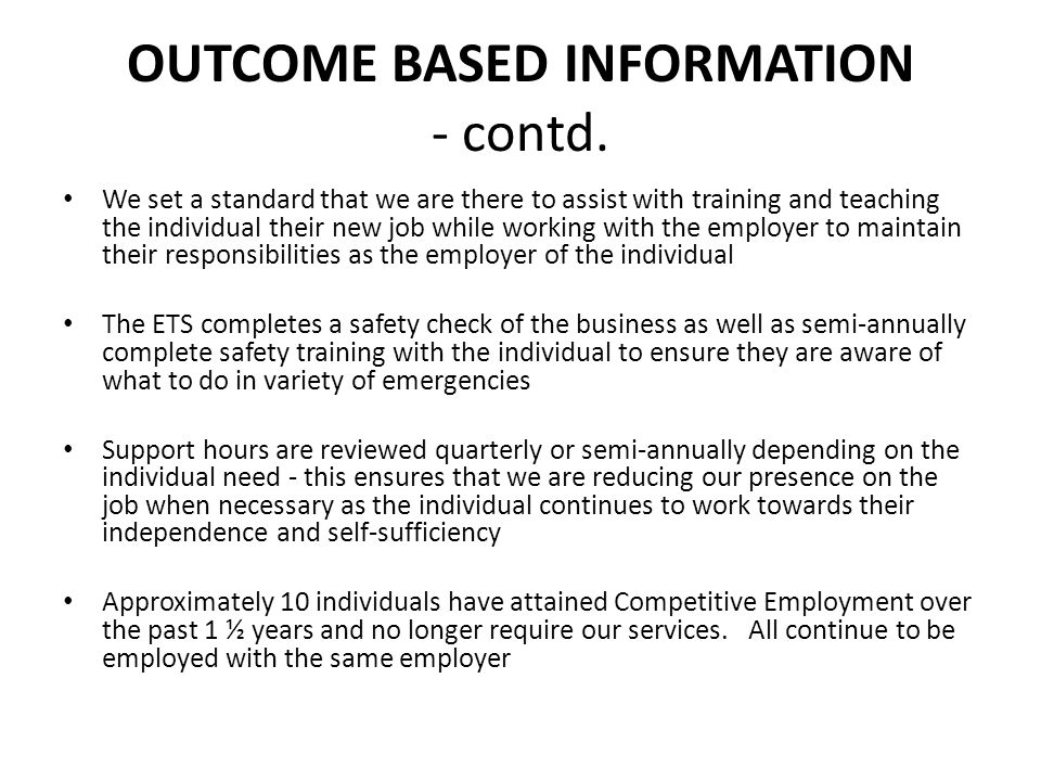 OUTCOME BASED INFORMATION - contd.