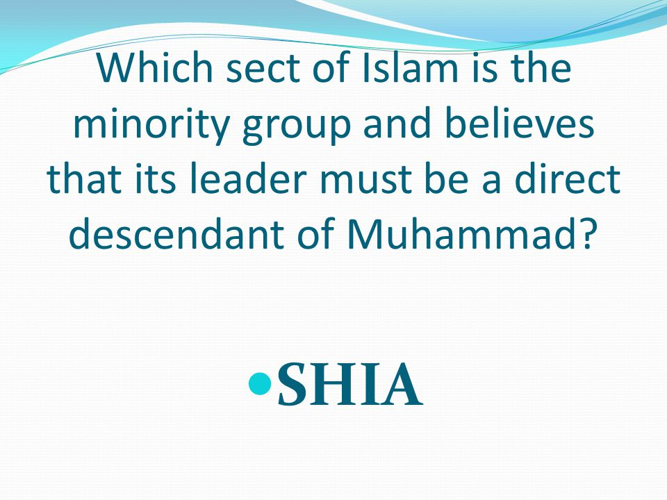 Which sect of Islam is the minority group and believes that its leader must be a direct descendant of Muhammad.