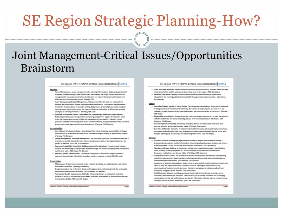 SE Region Strategic Planning-How Joint Management-Critical Issues/Opportunities Brainstorm