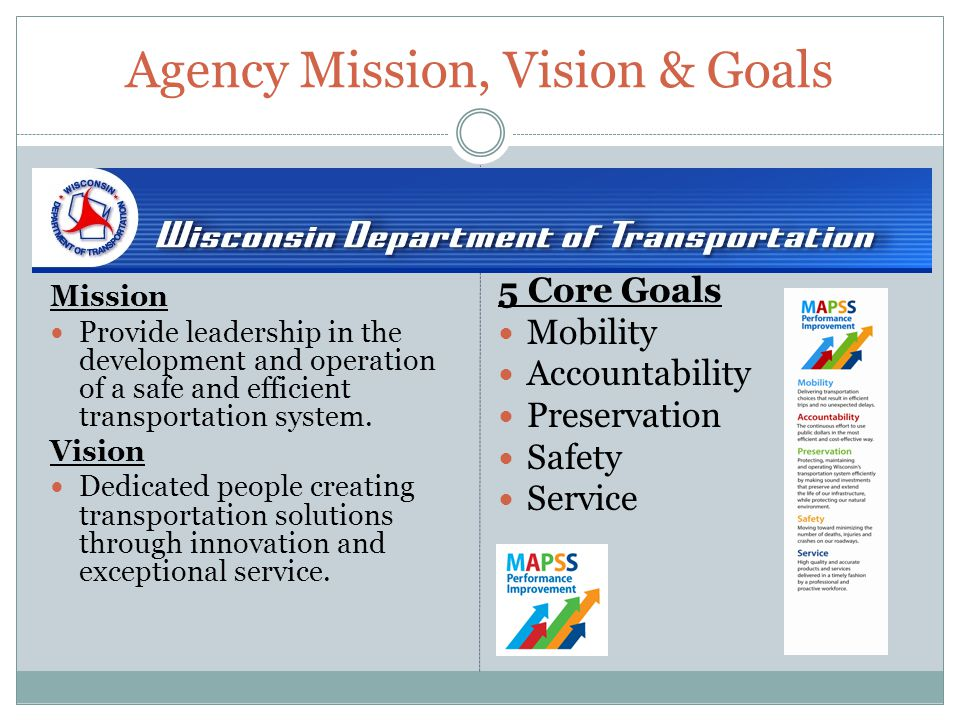 Agency Mission, Vision & Goals Mission Provide leadership in the development and operation of a safe and efficient transportation system.