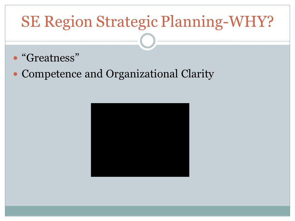 SE Region Strategic Planning-WHY Greatness Competence and Organizational Clarity