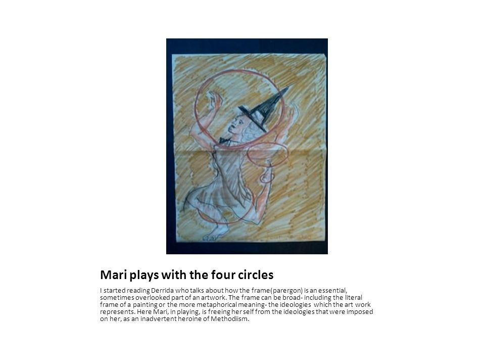 Mari plays with the four circles I started reading Derrida who talks about how the frame(parergon) is an essential, sometimes overlooked part of an artwork.