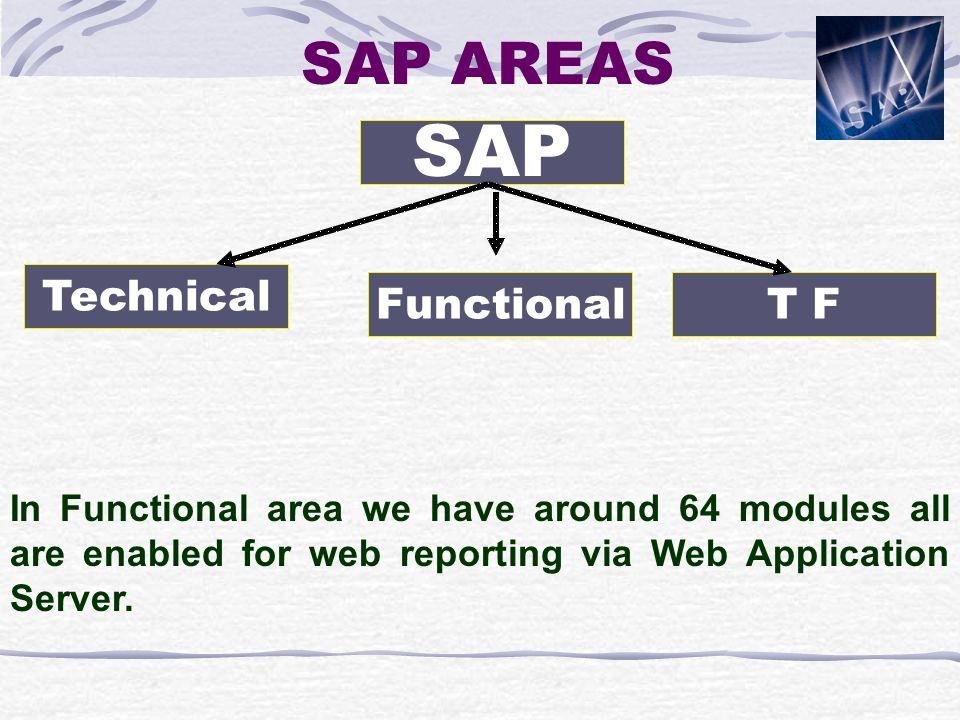 SAP AREAS In Functional area we have around 64 modules all are enabled for web reporting via Web Application Server.