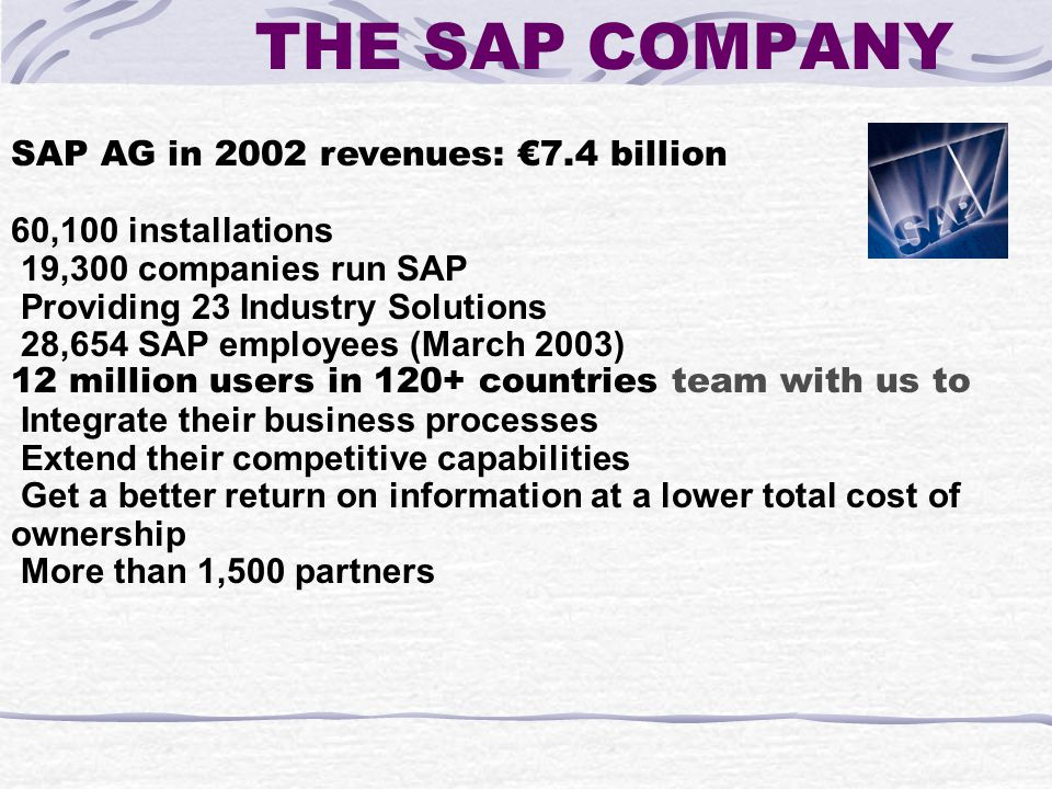 SAP AG in 2002 revenues: €7.4 billion 60,100 installations 19,300 companies run SAP Providing 23 Industry Solutions 28,654 SAP employees (March 2003) 12 million users in 120+ countries team with us to Integrate their business processes Extend their competitive capabilities Get a better return on information at a lower total cost of ownership More than 1,500 partners THE SAP COMPANY