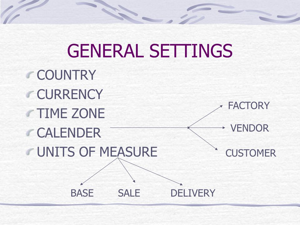 GENERAL SETTINGS COUNTRY CURRENCY TIME ZONE CALENDER UNITS OF MEASURE BASESALEDELIVERY FACTORY VENDOR CUSTOMER