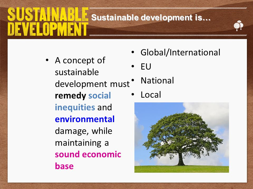 Sustainable development is… A concept of sustainable development must remedy social inequities and environmental damage, while maintaining a sound economic base Global/International EU National Local