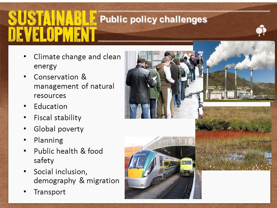 Public policy challenges Climate change and clean energy Conservation & management of natural resources Education Fiscal stability Global poverty Planning Public health & food safety Social inclusion, demography & migration Transport