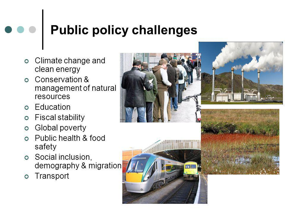 Public policy challenges Climate change and clean energy Conservation & management of natural resources Education Fiscal stability Global poverty Public health & food safety Social inclusion, demography & migration Transport