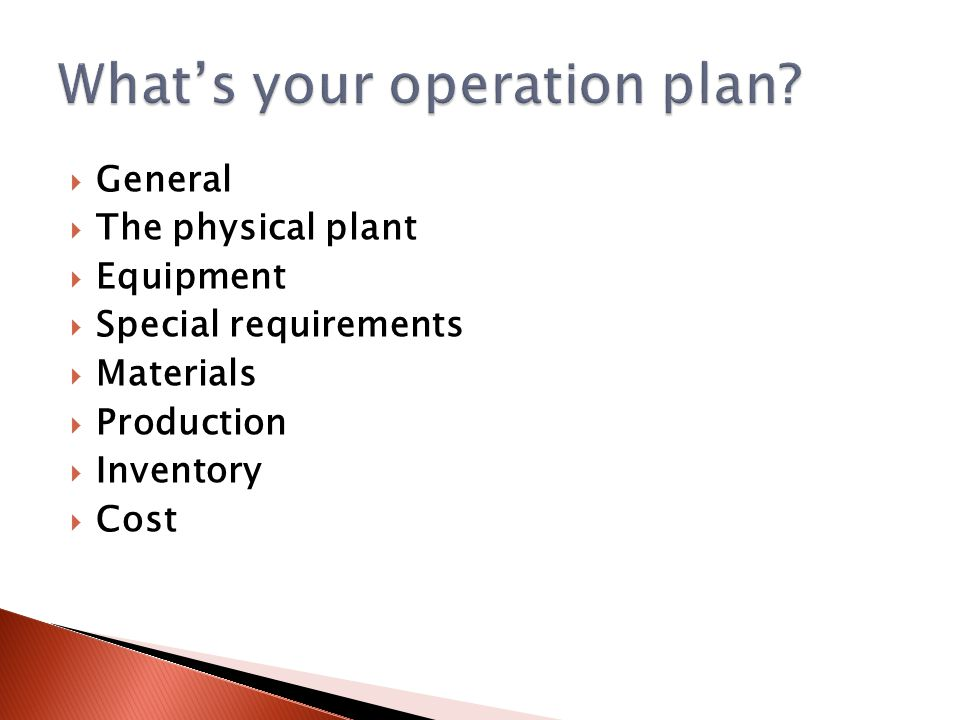  General  The physical plant  Equipment  Special requirements  Materials  Production  Inventory  Cost