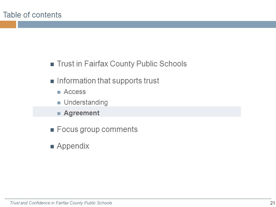 21 Trust and Confidence in Fairfax County Public Schools Table of contents Trust in Fairfax County Public Schools Information that supports trust Access Understanding Agreement Focus group comments Appendix