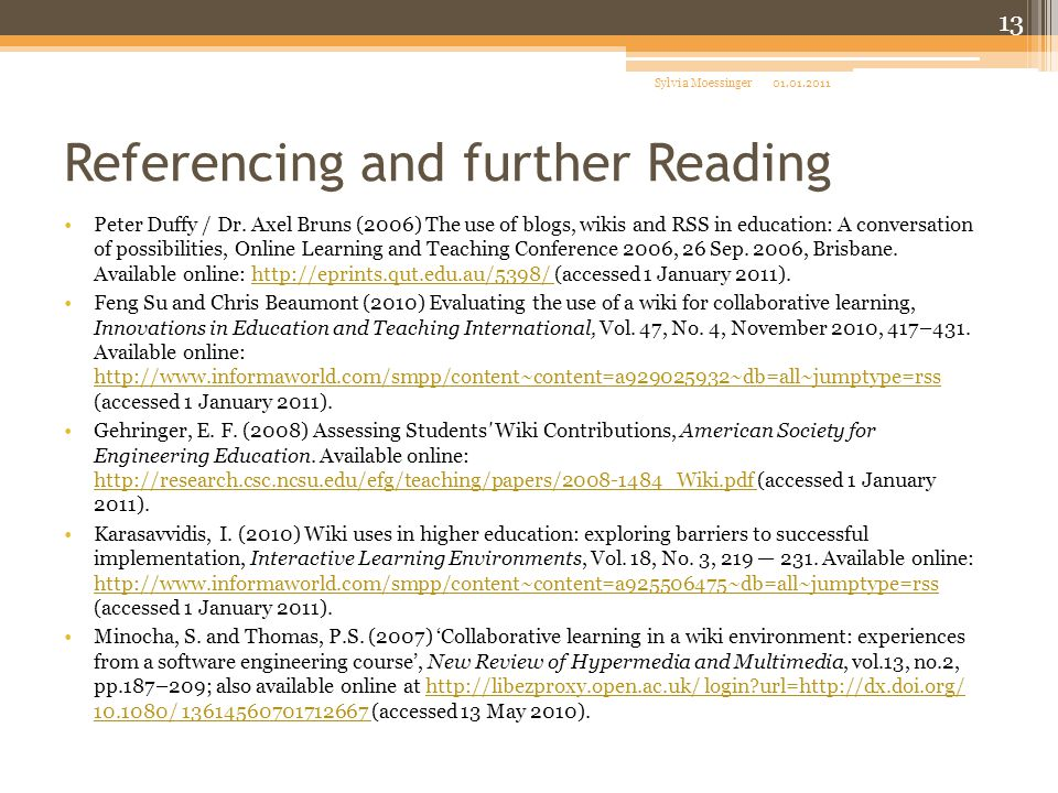 Referencing and further Reading Peter Duffy / Dr.