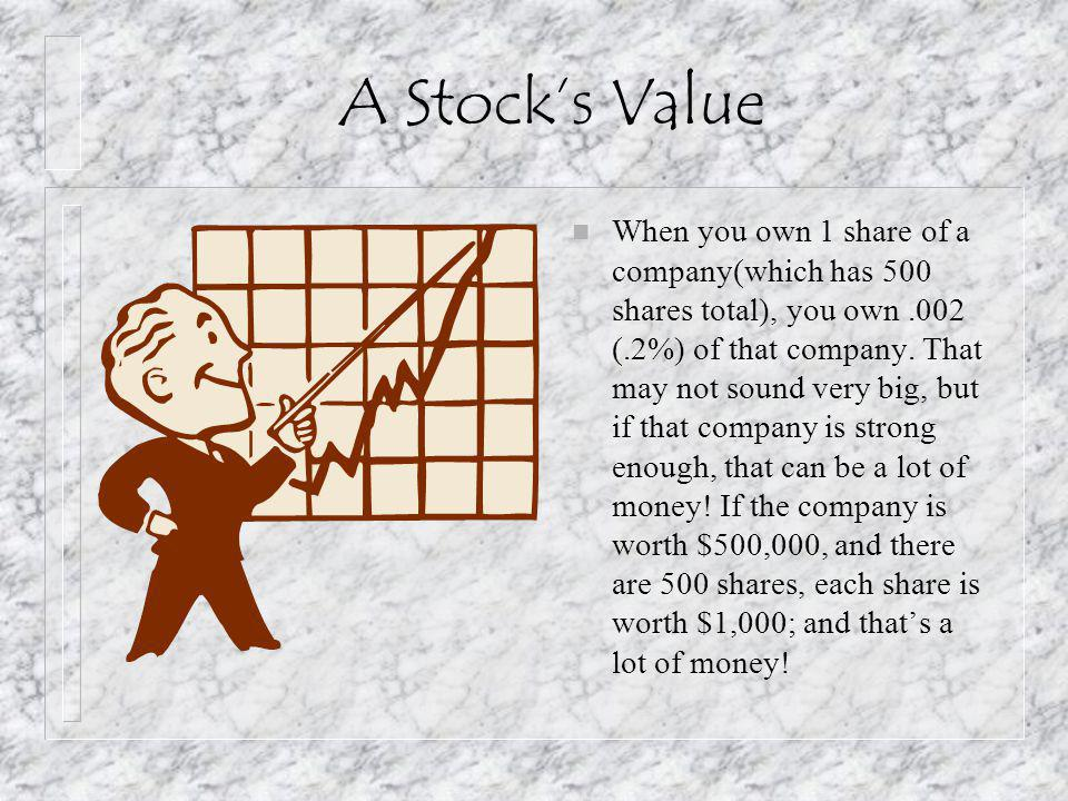 A Stock's Value n When you own 1 share of a company(which has 500 shares total), you own.002 (.2%) of that company.