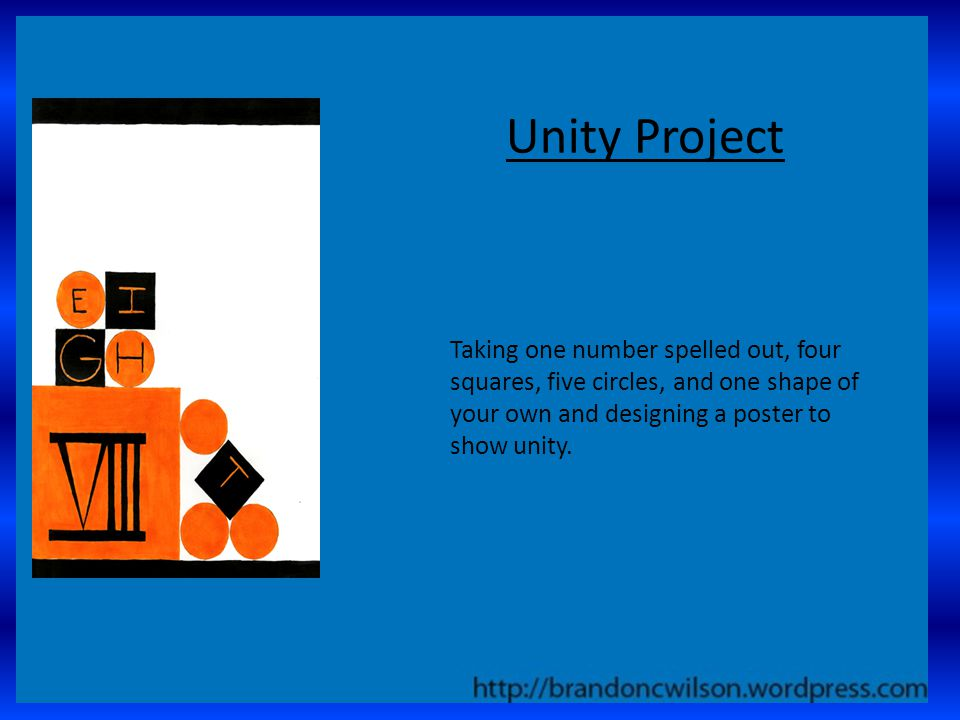 Unity Project Taking one number spelled out, four squares, five circles, and one shape of your own and designing a poster to show unity.