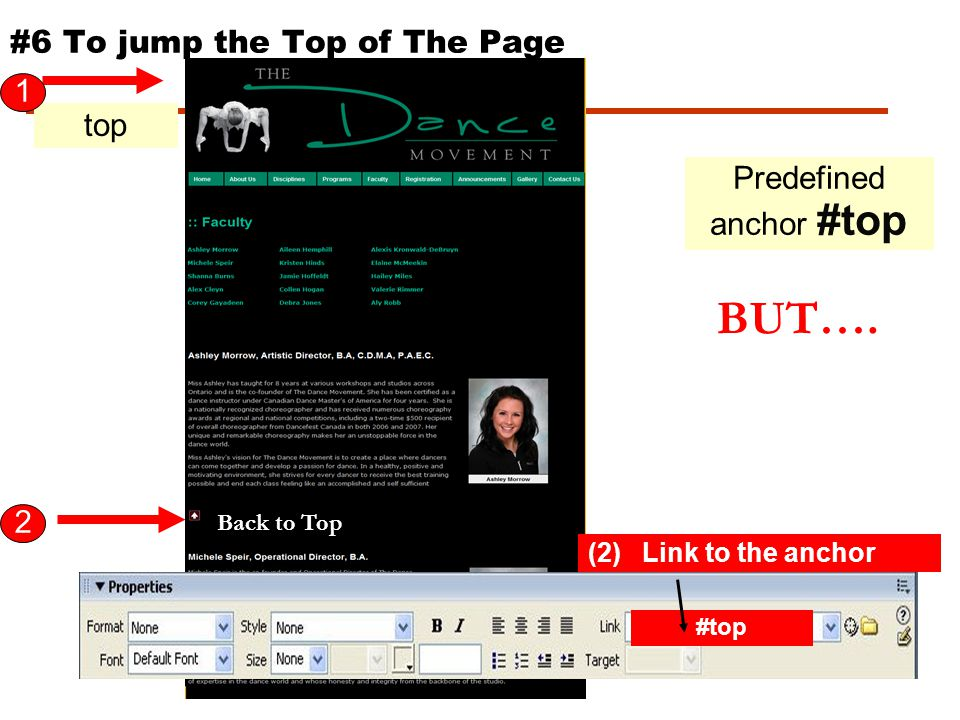 http://www.thedancemovement.ca/faculty /index.html (1) Create the anchor (2) Link to the anchor 1 2 ashley #ashley #6 To jump to a specific spot