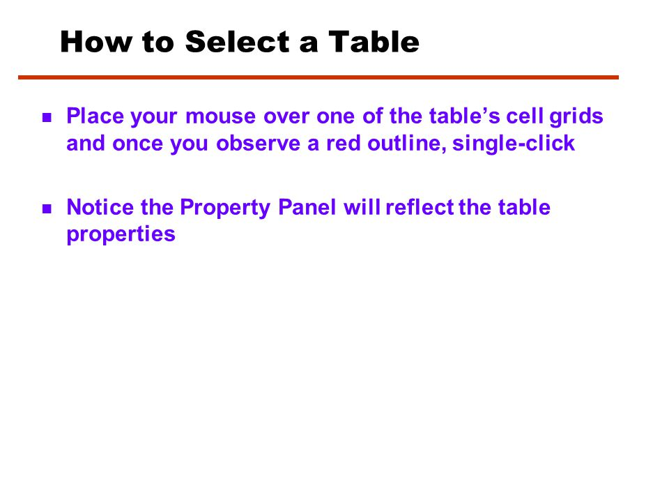 Inserting a Table 1. 1. Click at point where you want table to appear 2.