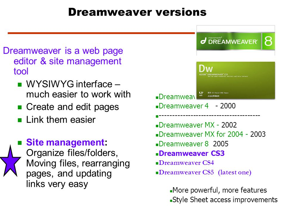Web Page File Names - Each webpage will have an extension of either :.html,.htm (Hypertext Markup Language).htm - DW versions prior to version 8.html – DW 8 version and later uses this extension The code is what the browser uses to display the webpage on your screen.shtml Server Side Includes means that html document has special commands for the server to process ie.