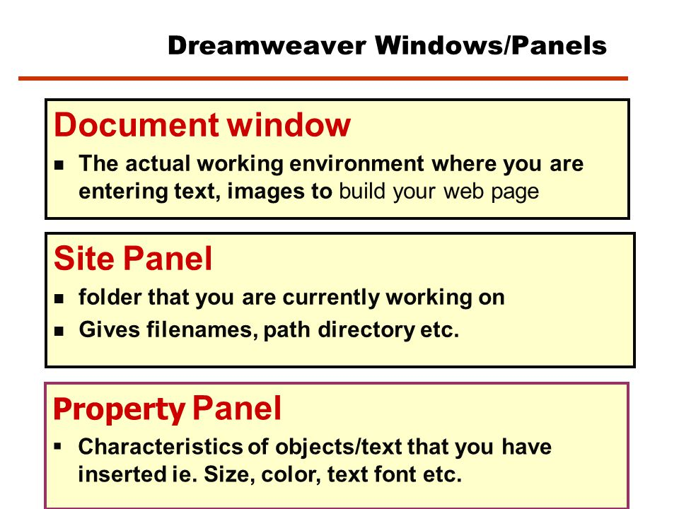 Dreamweaver Screen PANELS: Provide you with commands/properties & characteristics of the current object or task you are busy with   Can move them around on the screen (click and drag )   Most common floating panel is the Property Inspector Document Window Area where you build Your webpage (add text, images and other elements) Site Panel Property Inspector panel