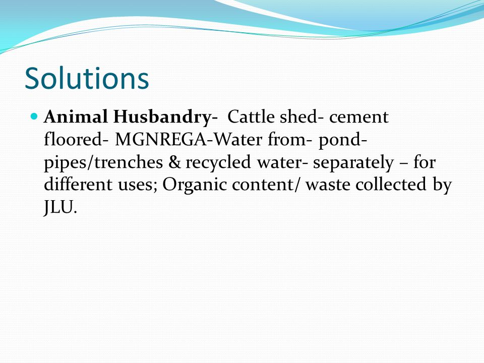 Animal Husbandry- Cattle shed- cement floored- MGNREGA-Water from- pond- pipes/trenches & recycled water- separately – for different uses; Organic content/ waste collected by JLU.
