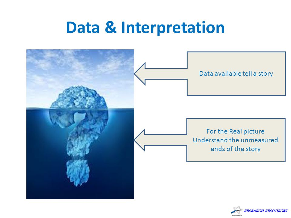 Data & Interpretation Data available tell a story For the Real picture Understand the unmeasured ends of the story