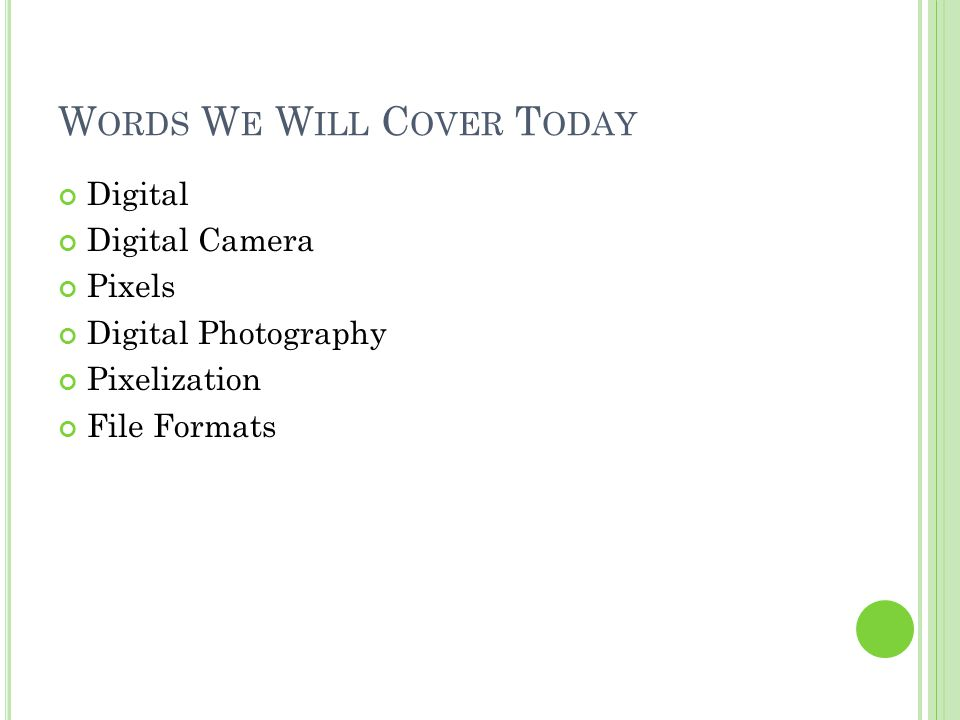 W ORDS W E W ILL C OVER T ODAY Digital Digital Camera Pixels Digital Photography Pixelization File Formats