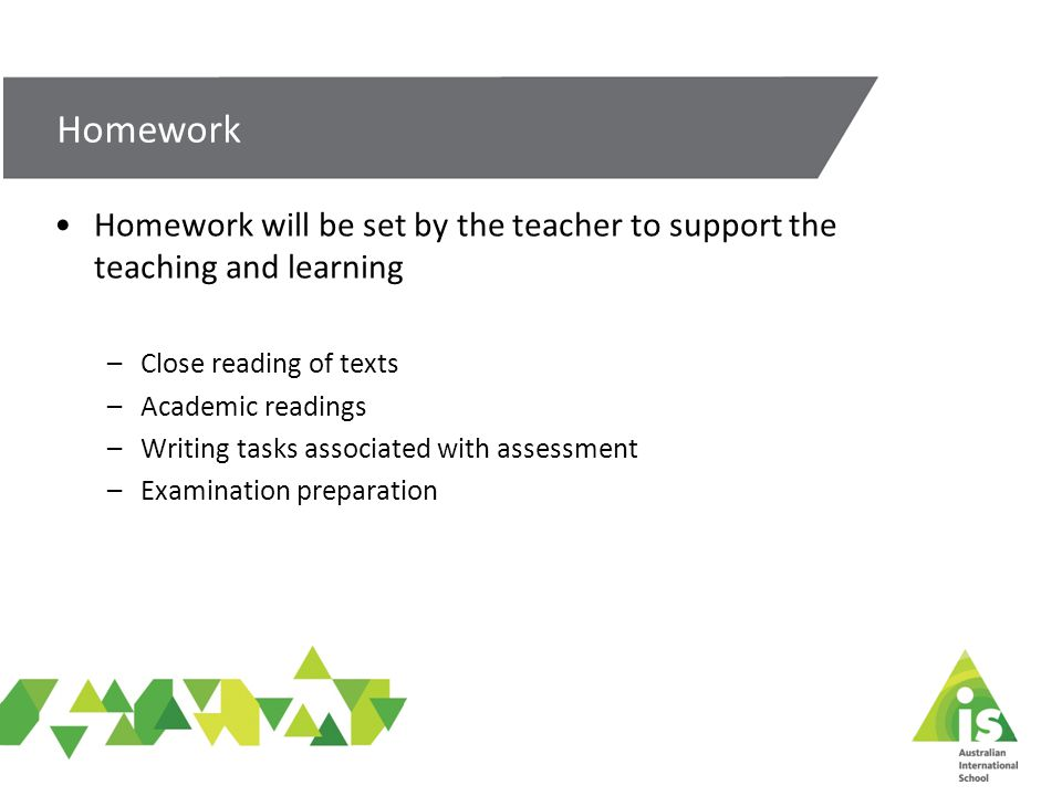 Homework will be set by the teacher to support the teaching and learning –Close reading of texts –Academic readings –Writing tasks associated with assessment –Examination preparation Homework