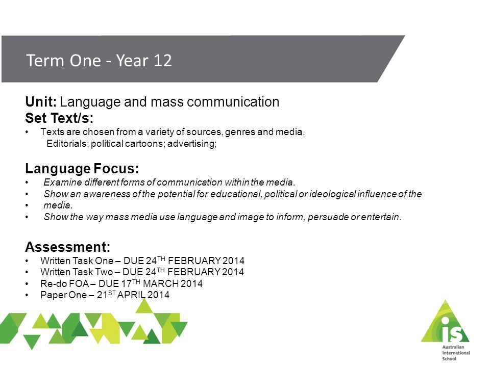 Unit: Language and mass communication Set Text/s: Texts are chosen from a variety of sources, genres and media.