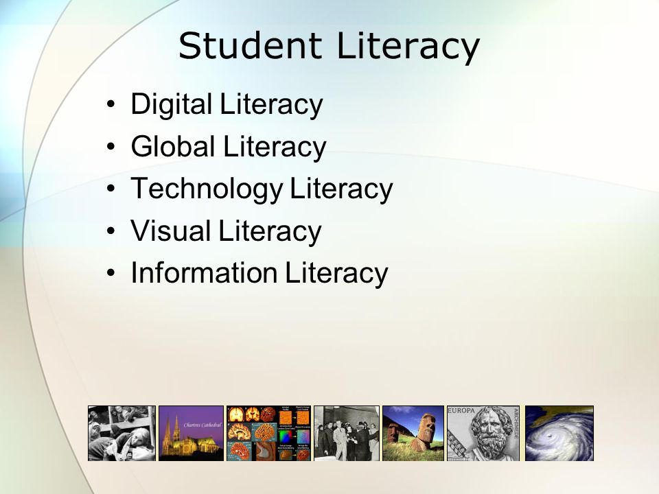 Student Literacy Digital Literacy Global Literacy Technology Literacy Visual Literacy Information Literacy