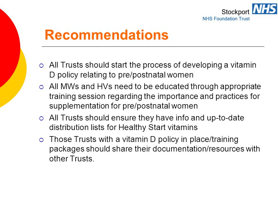 Recommendations  All Trusts should start the process of developing a vitamin D policy relating to pre/postnatal women  All MWs and HVs need to be educated through appropriate training session regarding the importance and practices for supplementation for pre/postnatal women  All Trusts should ensure they have info and up-to-date distribution lists for Healthy Start vitamins  Those Trusts with a vitamin D policy in place/training packages should share their documentation/resources with other Trusts.
