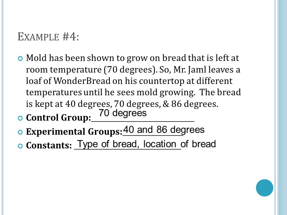 E XAMPLE #4: Mold has been shown to grow on bread that is left at room temperature (70 degrees).