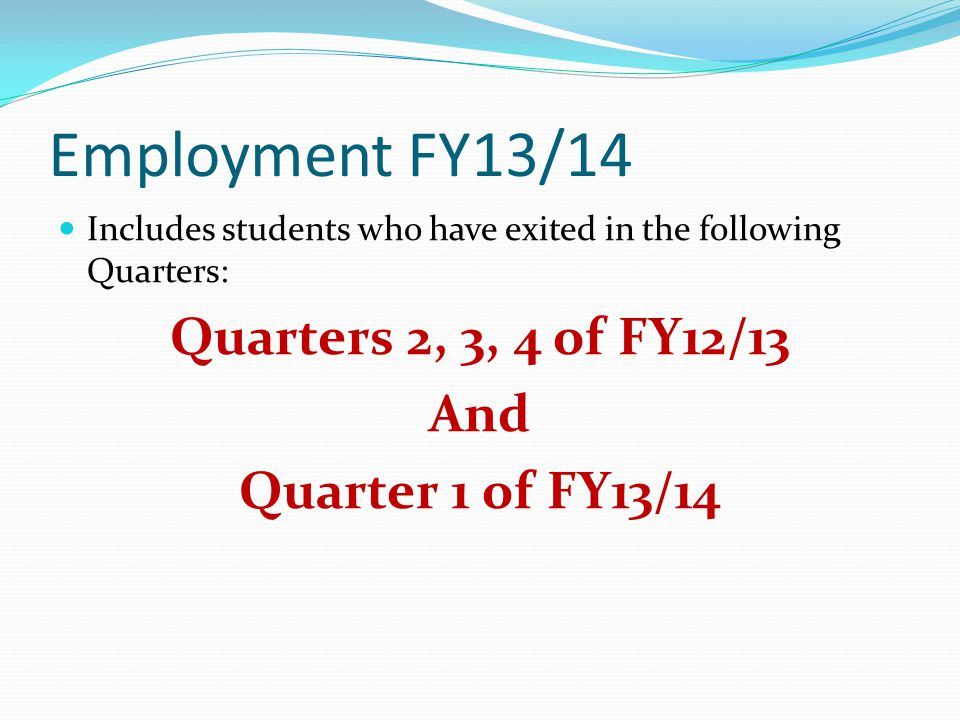 Employment FY13/14 Includes students who have exited in the following Quarters: Quarters 2, 3, 4 of FY12/13 And Quarter 1 of FY13/14