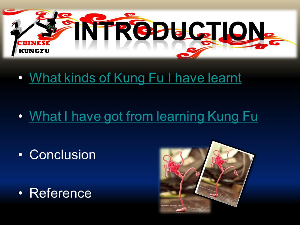 CHINESE KUNGFU What kinds of Kung Fu I have learnt What I have got from learning Kung Fu Conclusion Reference