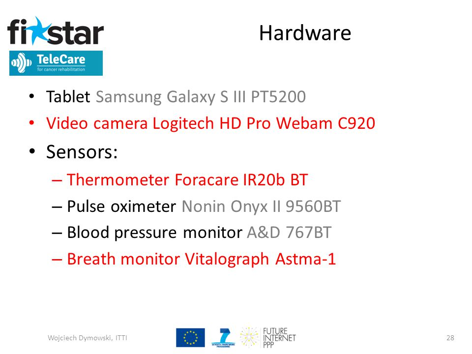 Hardware Tablet Samsung Galaxy S III PT5200 Video camera Logitech HD Pro Webam C920 Sensors: – Thermometer Foracare IR20b BT – Pulse oximeter Nonin Onyx II 9560BT – Blood pressure monitor A&D 767BT – Breath monitor Vitalograph Astma-1 Wojciech Dymowski, ITTI28