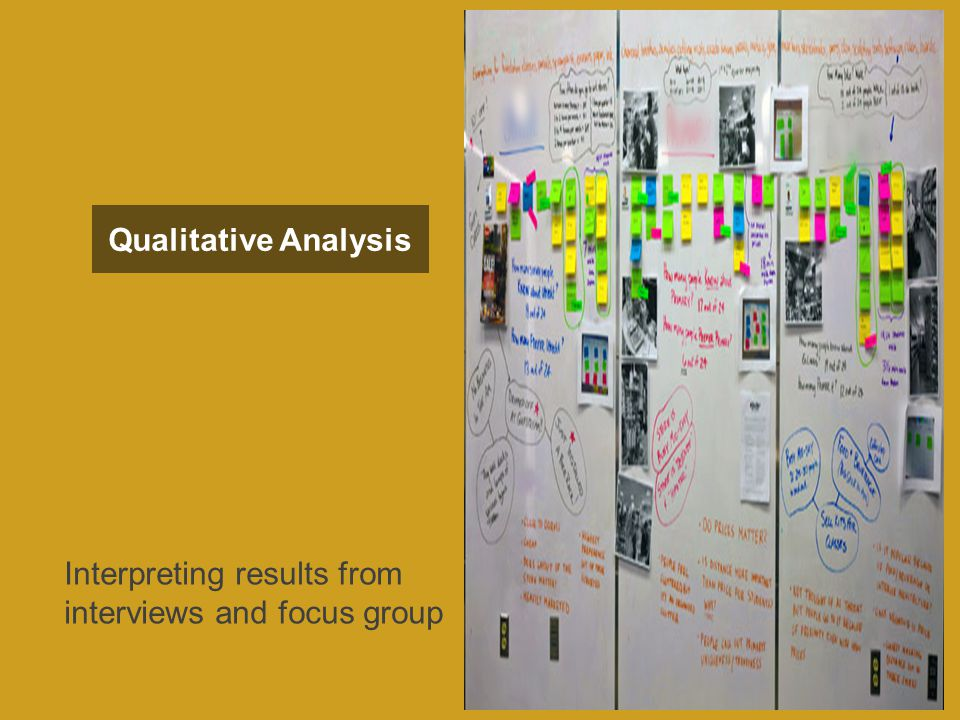 Qualitative Analysis Interpreting results from interviews and focus group