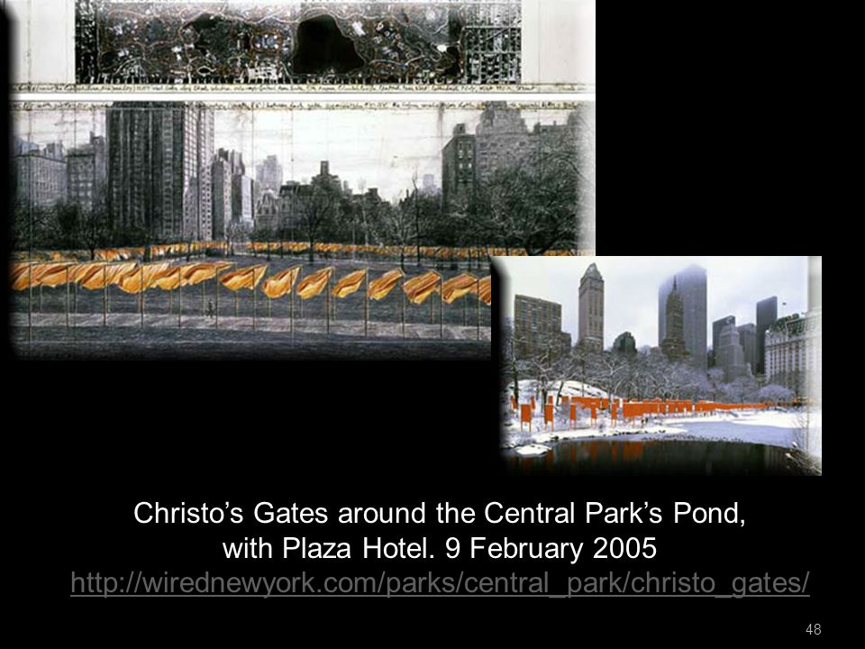 48 Christo's Gates around the Central Park's Pond, with Plaza Hotel.