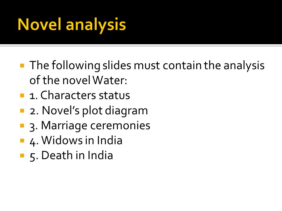  The following slides must contain the analysis of the novel Water:  1.