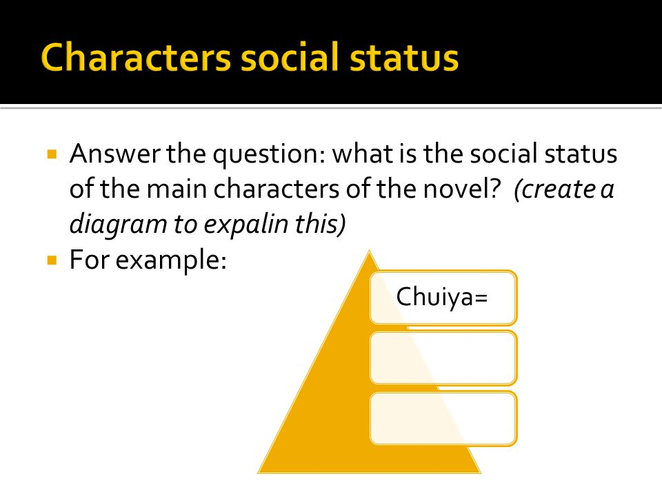  Answer the question: what is the social status of the main characters of the novel.