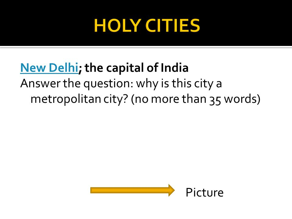 New DelhiNew Delhi; the capital of India Answer the question: why is this city a metropolitan city.