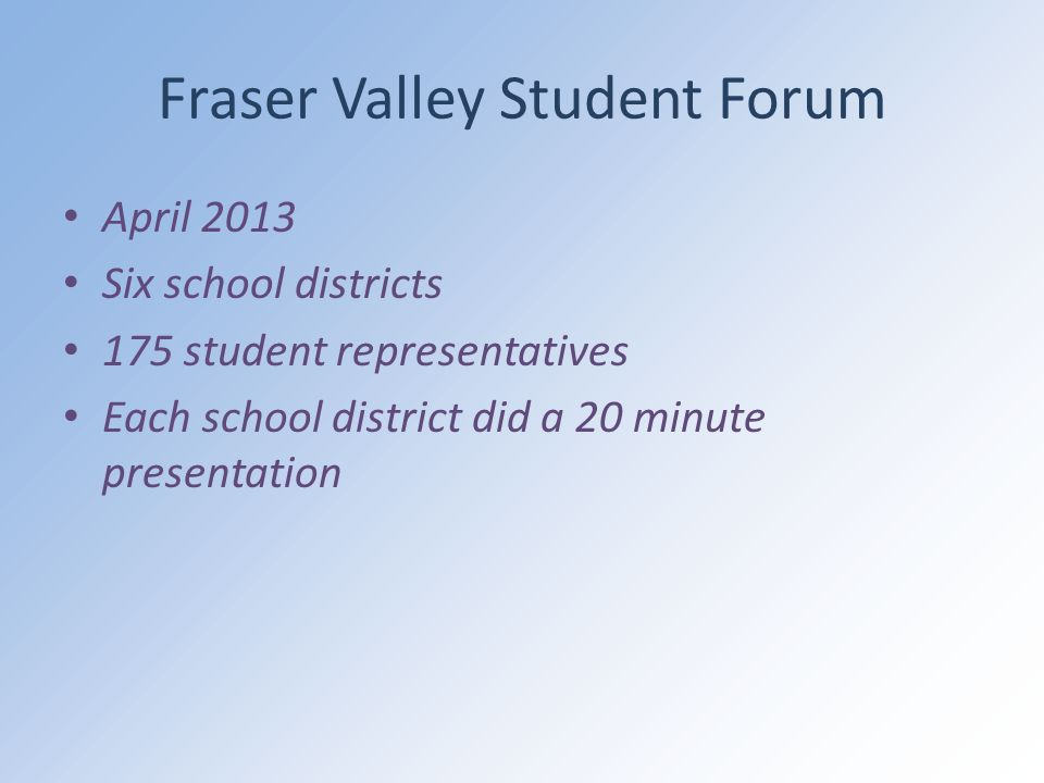 Fraser Valley Student Forum April 2013 Six school districts 175 student representatives Each school district did a 20 minute presentation
