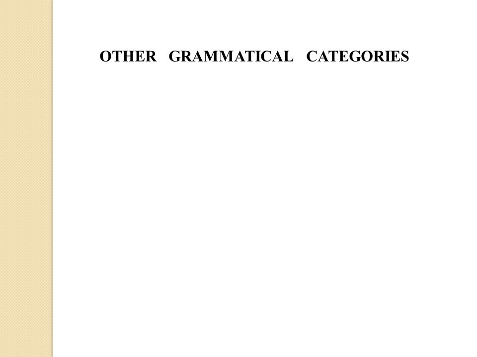 OTHER GRAMMATICAL CATEGORIES