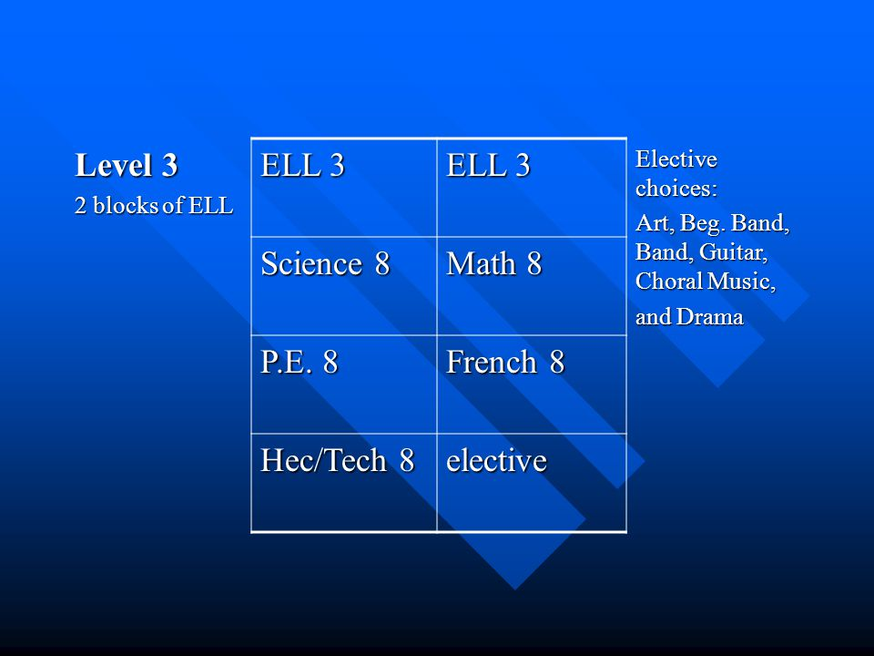 Level 3 2 blocks of ELL ELL 3 Elective choices: Art, Beg.