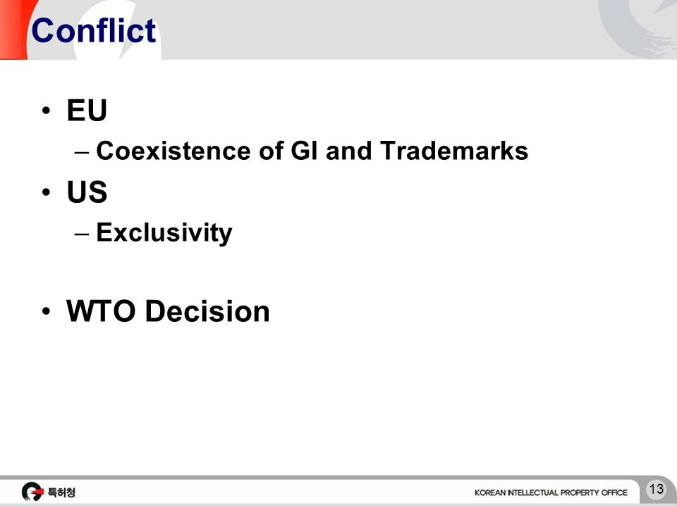 13 Conflict EU –Coexistence of GI and Trademarks US –Exclusivity WTO Decision