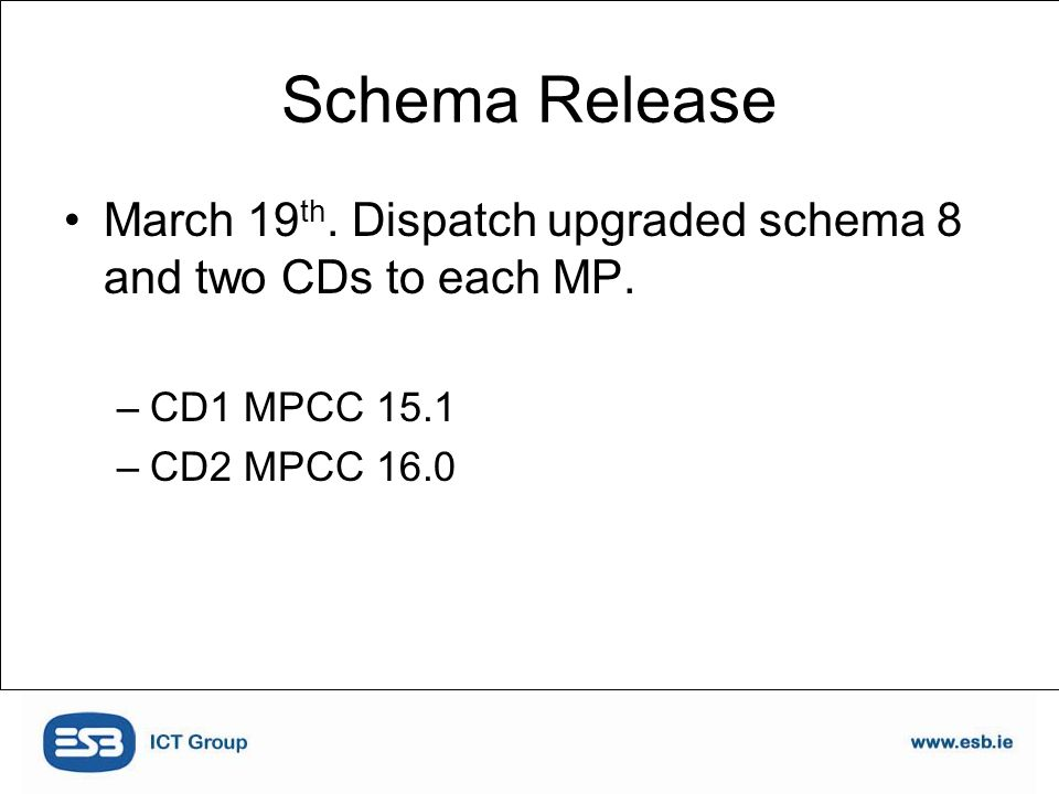 Schema Release March 19 th. Dispatch upgraded schema 8 and two CDs to each MP.
