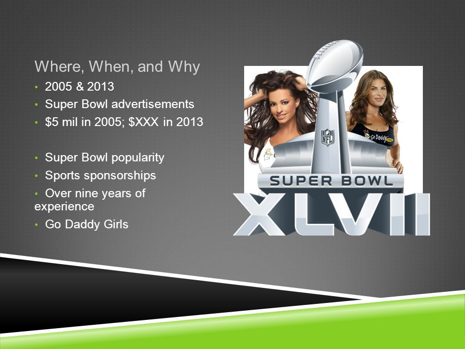 Where, When, and Why 2005 & 2013 Super Bowl advertisements $5 mil in 2005; $XXX in 2013 Super Bowl popularity Sports sponsorships Over nine years of experience Go Daddy Girls